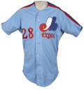 Baseball Collectibles:Uniforms, 1984 Bryn Smith Game Used and Signed Jersey. Exceptional light blue jersey from the 1984 Montreal Expos season was worn on-...