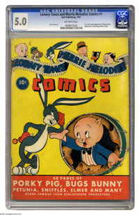 Looney Tunes and Merrie Melodies Comics #1 (Dell, 1941) CGC VG/FN 5.0 Off-white pages. This premiere issue took gags dir...