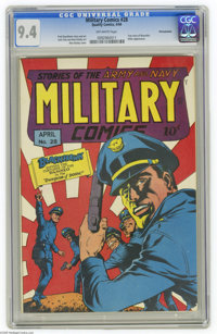 Military Comics #28 Pennsylvania pedigree (Quality, 1944) CGC NM 9.4 Off-white pages. A rousing Blackhawk tale is usuall...
