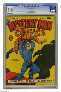Mystery Men Comics #24 (Fox, 1941) CGC VF 8.0 Off-white pages. Featuring the Blue Beetle. George Tuska and Dick Briefer...