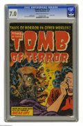 Golden Age (1938-1955):Horror, Tomb of Terror #15 (Harvey, 1954) CGC FN/VF 7.0 Cream to off-white pages. For sheer impact, this horror cover measures up to...