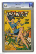 Golden Age (1938-1955):War, Wings Comics #93 (Fiction House, 1948) CGC NM+ 9.6 Off-white to white pages. In this issue of Legs Comics, ... did we sa...