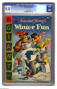 Dell Giant Comics Tom and Jerry's Winter Fun #5 (Dell, 1956) CGC VF/NM 9.0 Off-white pages. Overstreet 2004 VF/NM 9.0 va...