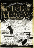 Original Comic Art:Covers, Al Avison (attributed) - Dick Tracy #49 Cover Original Art (Harvey,1952). A kill-crazy Mumbles threatens to bomb a boat wit...