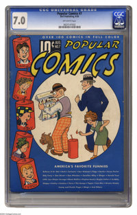 Popular Comics #7 (Dell, 1936) CGC FN/VF 7.0 Off-white pages. Overstreet doesn't even list values above VF for this Plat...