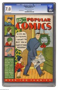 Popular Comics #12 (Dell, 1937) CGC FN/VF 7.0 Cream to off-white pages. Dick Tracy Christmas cover. Interior artists inc...