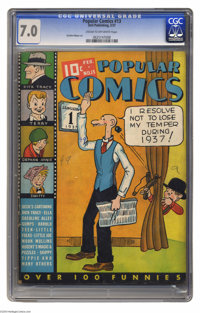 """Popular Comics #13 (Dell, 1937) CGC FN/VF 7.0 Cream to off-white pages. A Gerber """"7."""" Characters include Dick..."""
