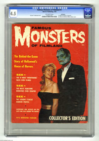 Famous Monsters of Filmland #1 Northland pedigree (Warren, 1958) CGC VG+ 4.5 Off-white pages. The first Warren monster m...