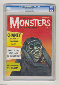 Famous Monsters of Filmland #8 (Warren, 1960) CGC FN- 5.5 Off-white to white pages. Lon Chaney article with complete fil...