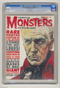 "Magazines:Horror, Famous Monsters of Filmland #9 (Warren, 1960) CGC VG+ 4.5 Off-white pages.""House of Usher"" movie preview. First Basil Gogos ..."
