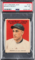 Baseball Cards:Singles (Pre-1930), 1915 Cracker Jack Branch Rickey #133 PSA NM-MT 8 - Only Two Higher. ...