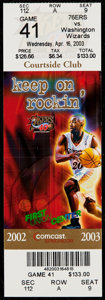 Basketball Collectibles:Others, 2003 Wizards vs. 76ers Full Ticket - Michael Jordan Final CareerGame....
