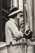 Photographs:Digital, Milton Greene (American, 1922-1985). Coco Chanel in Front of Her Boutique, circa 1961. Collotype printed by Joshua G...