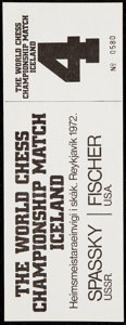 Olympic Collectibles:Autographs, 1972 World Chess Championship Full Ticket Bobby Fischer vs. Boris Spassky. ...