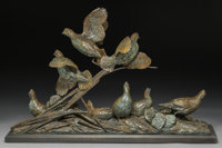 Walter Matia (American, b. 1953) Covey Rise, Bobwhite Quail, 1993 Bronze with brown patina 18-1/2