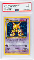 Memorabilia:Trading Cards, Pokémon Alakazam #1 First Edition Base Set Rare Hologram Trading Card (1999) PSA MINT 9....