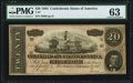 Confederate Notes:1864 Issues, T67 $20 1864 PF-6 Cr. 507 PMG Choice Uncirculated 63.. ...
