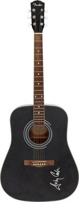 Johnny Cash Signed Black Fender Acoustic Guitar