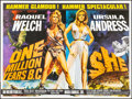 """Movie Posters:Fantasy, One Million Years B.C./She Combo (Warner Pathe, 1968) Rolled, Very Fine-. British Quad (30"""" X 40""""). Tom William Chantrell Ar..."""