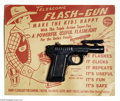 """Memorabilia:Miscellaneous, Telescopic Flash Gun with Card (Smithcraft, 1950s). """"Make the kids happy with this triple action super-toy,"""" promises the bl..."""