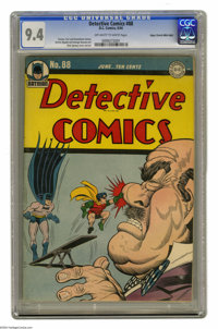 Detective Comics #88 Mile High pedigree (DC, 1944) CGC NM 9.4 Off-white to white pages. You've gotta love this cover by...