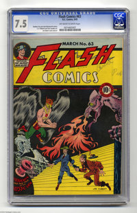 Flash Comics #63 (DC, 1945) CGC VF- 7.5 Off-white to white pages. Joe Kubert's early style is on display on this issue's...