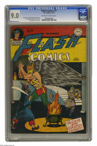Flash Comics #77 (DC, 1946) CGC VF/NM 9.0 Off-white to white pages. Chet Kozlak took on cover duties for this issue, and...