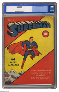 Superman #2 (DC, 1939) CGC FN/VF 7.0 Off-white pages. The Man of Steel's second issue reprints Superman newspaper strips...