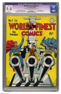 World's Finest Comics #7 (DC, 1942) CGC Apparent NM 9.4 Slight (P) Off-white to white pages. Jack Burnley's cover gives...