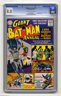 Batman Annual #1 (DC, 1961) CGC VF 8.0 Off-white to white pages. This giant-sized issue boasts a Curt Swan cover, with i...