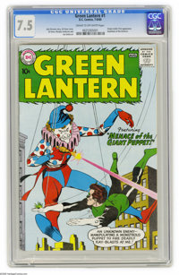 Green Lantern #1 (DC, 1960) CGC VF- 7.5 Cream to off-white pages. Publishers were notoriously reluctant to launch a new...