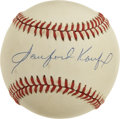 Autographs:Baseballs, Sanford Koufax Single Signed Baseball. His singles are fairly toughin general, but his ultra-rare signature variation shou...