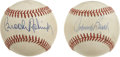 Autographs:Baseballs, Johnny Bench & Brooks Robinson Single Signed Baseballs Lot of2. Flawless blue ink sweet spot signatures from this Hall of ...