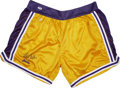 Basketball Collectibles:Others, Kareem Abdul-Jabbar Signed Los Angeles Lakers Shorts. The dominantcenter in an era now infamous for the restrictive nature...