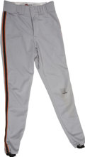 Baseball Collectibles:Uniforms, 1998 Barry Bonds Game Worn Pants. Fantastic road gray pants were part of the on-field attire of baseball's current Home Run...