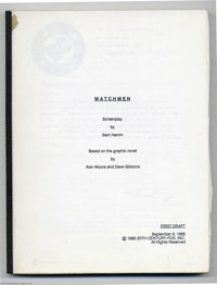 Watchmen Screenplay (1988). This lot features a first draft copy of screenwriter Sam Hamm's as yet unused screenplay ada...