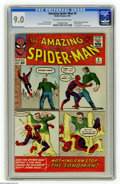 Silver Age (1956-1969):Superhero, The Amazing Spider-Man #4 (Marvel, 1963) CGC VF/NM 9.0 Off-white towhite pages. The Sandman made his first appearance in th...