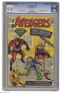 Silver Age (1956-1969):Superhero, Avengers #2 (Marvel, 1963) CGC NM 9.4 Off-white pages.Surprisingly, after just one book into the series, the Hulk leavesth...