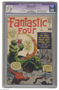 Silver Age (1956-1969):Superhero, Fantastic Four #1 (Marvel, 1961) CGC Apparent FN/VF 7.0 Moderate(P) Cream to off-white pages. The origin and first appearan...