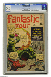 Fantastic Four #1 (Marvel, 1961) CGC VG/FN 5.0 Cream to off-white pages. Marvel's Silver Age started right here. It's th...