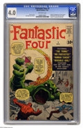 Silver Age (1956-1969):Superhero, Fantastic Four #1 (Marvel, 1961) CGC VG 4.0 Off-white pages. Thismilestone first issue was the comic that started the Silve...