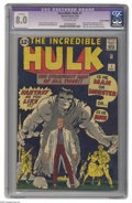 Silver Age (1956-1969):Superhero, The Incredible Hulk #1 (Marvel, 1962) CGC Apparent VF 8.0 Off-whitepages. This is the book that features the origin and fir...