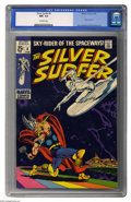 "Silver Age (1956-1969):Superhero, The Silver Surfer #4 (Marvel, 1969) CGC NM- 9.2 Off-white pages. Why is Thor battling the Silver Surfer? If you guessed ""the..."