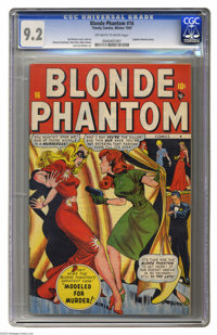 Blonde Phantom #16 (Timely, 1947) CGC NM- 9.2 Off-white to white pages. The Blonde Phantom takes on a case involving gor...