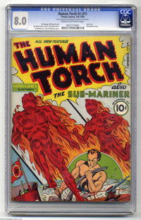 The Human Torch #2 (#1) (Timely, 1940) CGC VF 8.0 Cream to off-white pages. One of the most sought-after Timely keys, th...