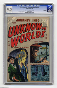 Journey Into Unknown Worlds #45 Bethlehem pedigree (Atlas, 1956) CGC NM- 9.2 Off-white to white pages. Sol Brodsky cover...