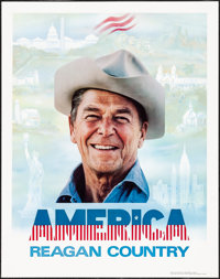 "America: Reagan Country (Reagan-Bush Committee, 1980) Rolled, Fine/Very Fine. Political Poster (22"" X 28""). Mi..."
