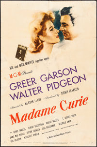 "Madame Curie (MGM, 1943) Folded, Fine-. One Sheet (27"" X 41"") Style D. Drama"