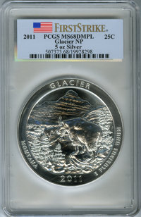 2011 25C Glacier National Park Five Ounce Silver, First Strike MS68 Deep Mirror Prooflike PCGS. PCGS Population: (88/323...