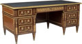 Furniture : French, A Louis XVI-Style Gilt Metal-Mounted Mahogany Desk, 20th century. 31-1/2 x 71-1/2 x 34-1/2 inches (80.0 x 181.6 x 87.6 cm). ...